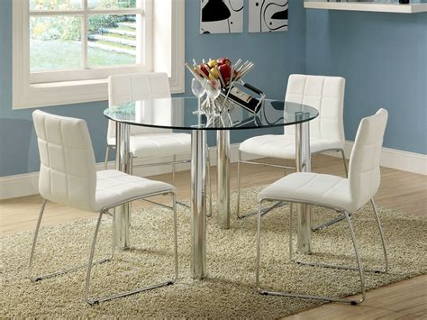 Glass Top Dining Table And Chairs 5pc Kona Glass Top Dining Table Set Bold Chrome Legs 4 Chairs