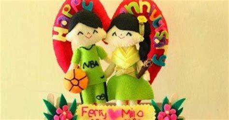 membuat souvenir ultah anak sendiri kado wisuda hadiah animasi unik boneka couple jual flanel