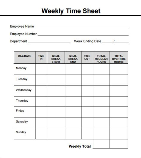 Weekly Timesheet Template 9 Free Download In Pdf Timesheets Dc Design Work Timesheet Template