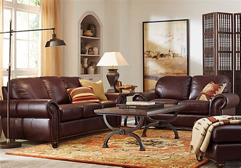rooms to go kitchen furniture brockett brown leather 5 pc living room classic