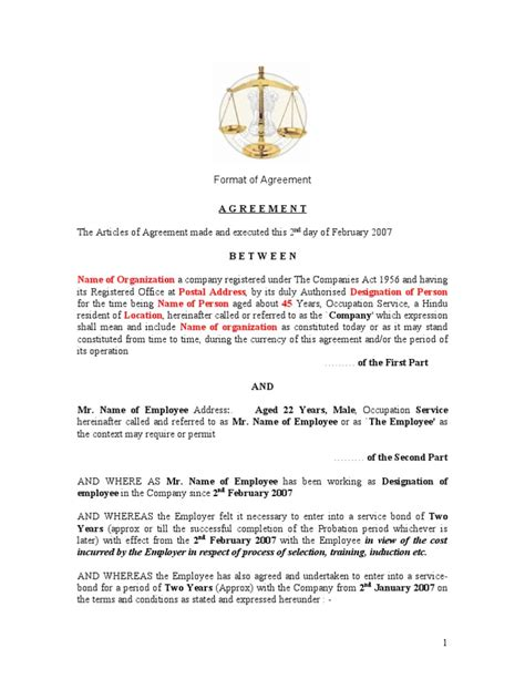Bond Agreement Letter Format Employee Bond Agreement Damages Employment