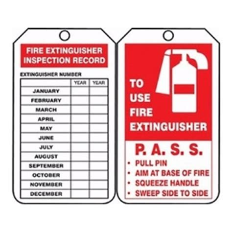 fire extinguisher pre inspection tag safetymax com