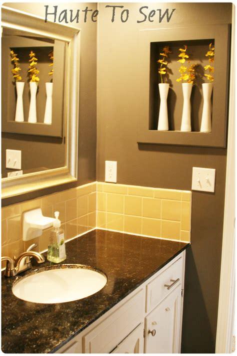 remodelaholic bathroom makeover yellow gray color scheme