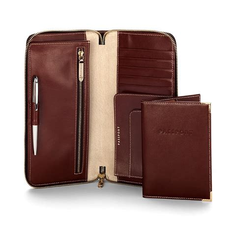 Leather Travel Wallet Passport Cover aspinal zipped travel wallet with passport cover in brown