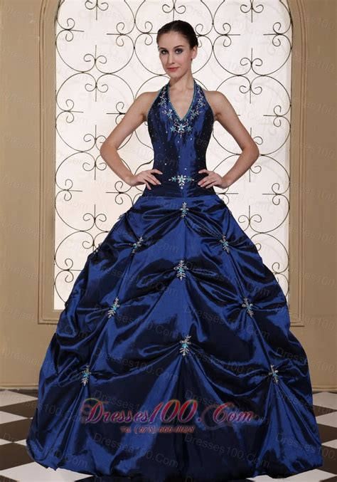 Dress Sweet Two Color Mix Import Premium Quality halter top navy blue quinceanera dress embroidery with beading