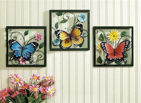 3 Wall Decor 3 pc framed crafted 3d metal butterfly in blossom flower
