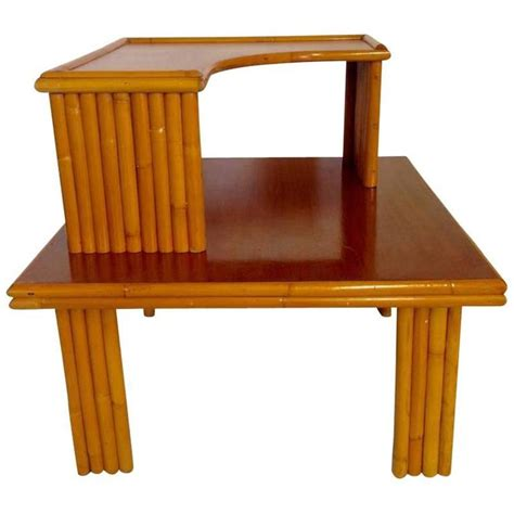 Stacked Table L by 1940s Paul Frankl Two Tier Stack Rattan And Mahogany Table