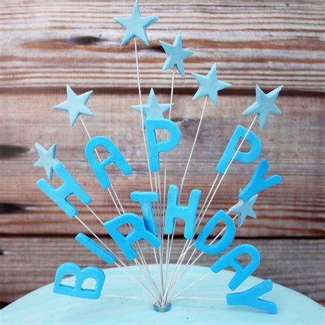 blue icing happy birthday  stars cake topper