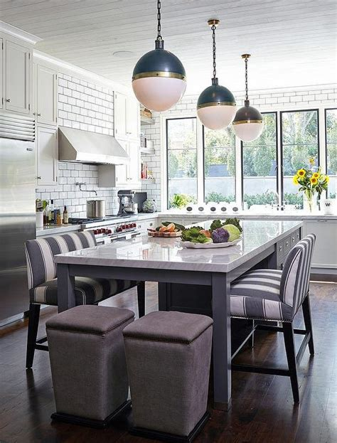 table as kitchen island kitchen island with gray striped bench transitional