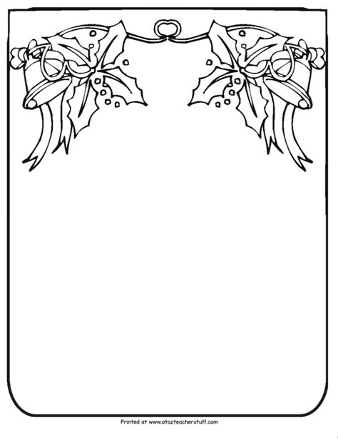 christmas borders coloring page christmas border writing paper a to z teacher stuff