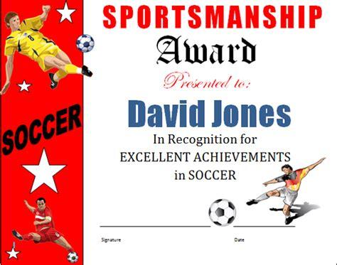 soccer award certificate template soccer sportsmanship award certificate
