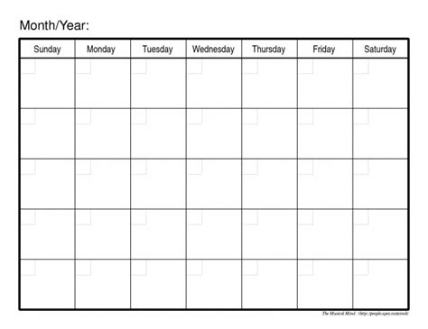 plain monthly calendar calendar printable template