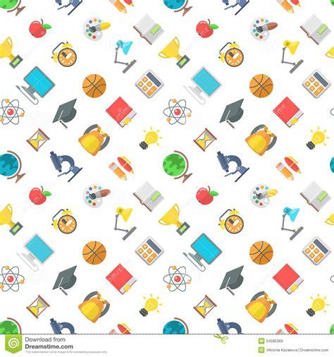 flat background pattern free modern flat school icons seamless pattern stock vector
