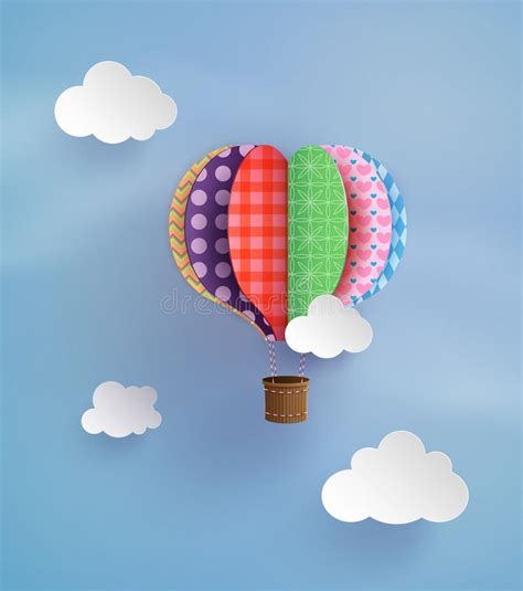 Origami Air Balloon - origami made air balloon and cloud stock image image