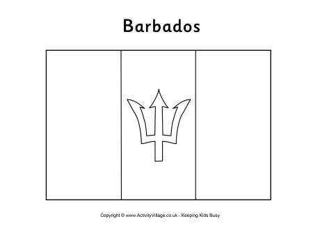 barbados flag colouring page