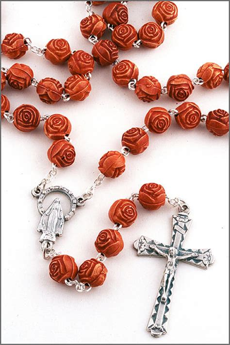 a bead of roses light brown faux bead rosary rosa802