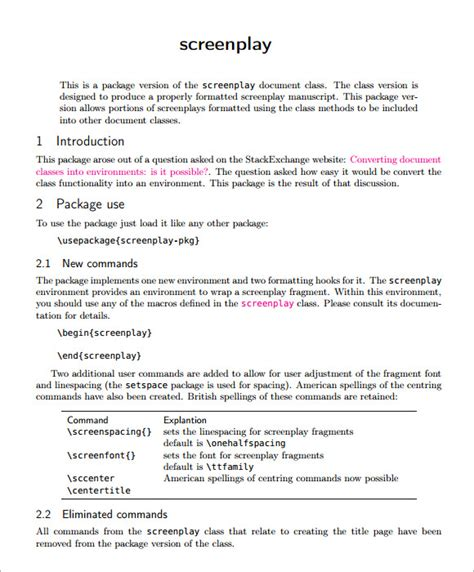 script template word sle screenplay 6 documents in pdf word