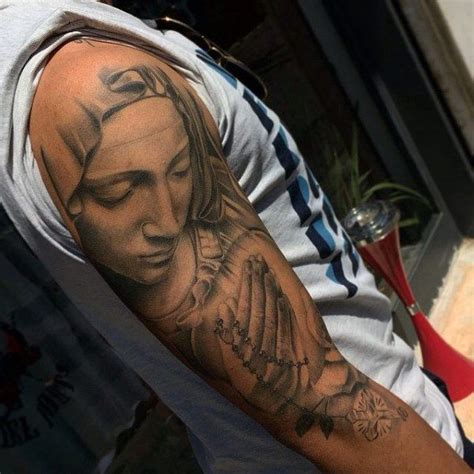 praying mary tattoo designs praying rosary for males on arm