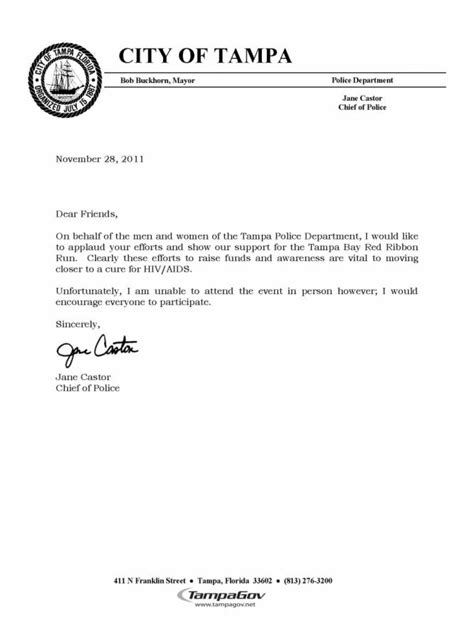 Support Event Letter Ta Chief Castor Requests Your Support The Aids Institute