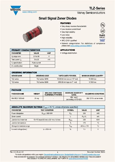 diode data sheets free tlz9v1 gs08 6942675 pdf datasheet ic on line