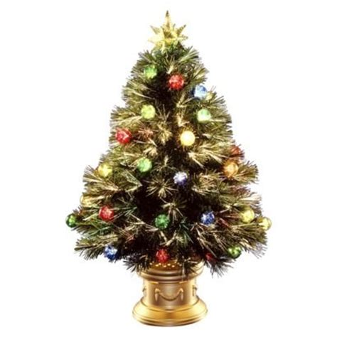 32 quot pre lit fiber optic fireworks ornament tree multi