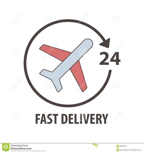 fast delivery logo with plane in circle fast delivery sevice 24 hours stock vector