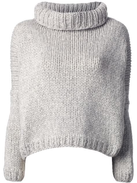 how to knit a chunky sweater jo no fui chunky knit sweater in gray lyst