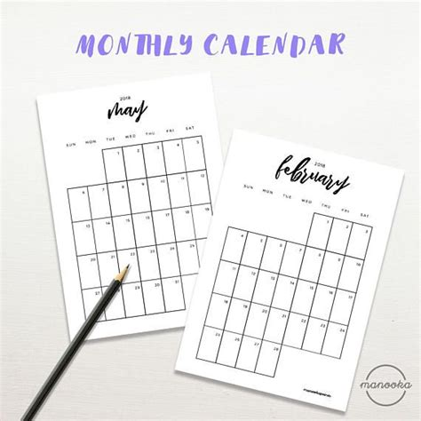 printable calendar a5 2018 calendar typography black and white monthly