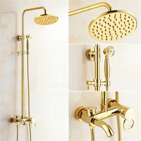 Delta Kitchen Faucets Bronze antique gold exposed brass wall mount shower faucet