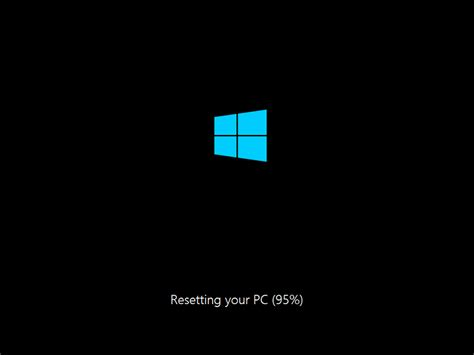 resetting windows machine the machine will reboot once its done resetting and the
