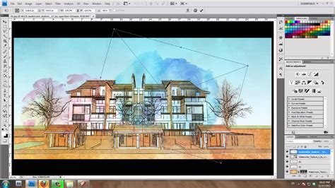 sketchup layout color sketchup and photoshop tutorial water color style by