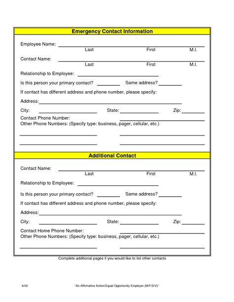 employee emergency contact information sheet pictures to