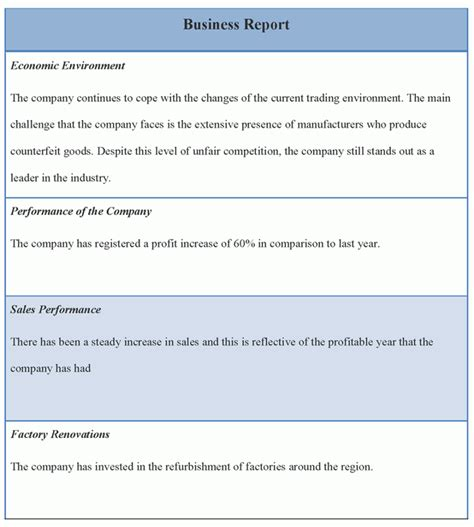 report template for business template of business report