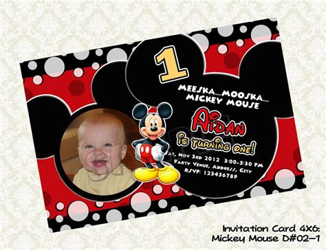 Mickey Mouse Printable Birthday Cards Mickey Mouse Invitation Mickey Mouse Photo Birthday Card