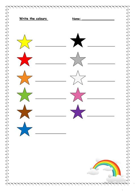 write in color write the colours worksheet free esl printable