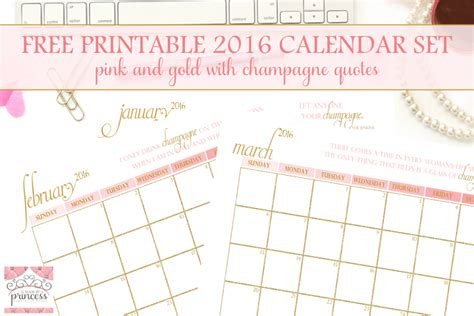 printable calendar girly free 2016 printable calendar made by a princess