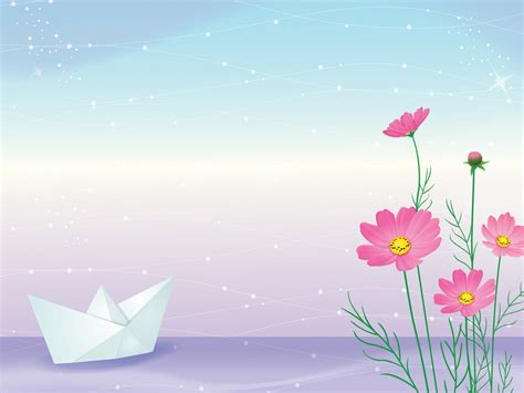 Paper Ship On River Powerpoint Templates Flowers Fuchsia Magenta Nature Free Ppt 2014 Powerpoint Templates