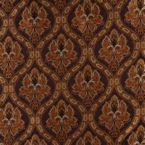 Traditional Upholstery Brown Gold Persimmon And Ivory Traditional Brocade