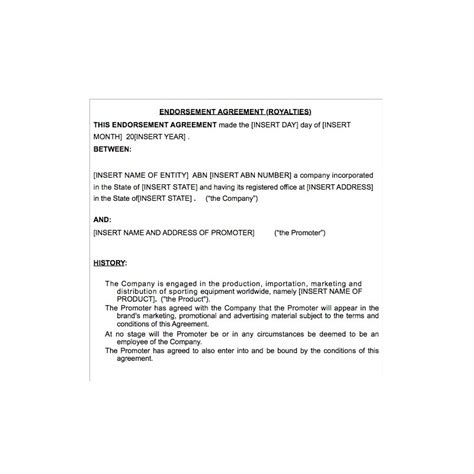 endorsement agreement template endorsement agreement law4us endorsement agreement template