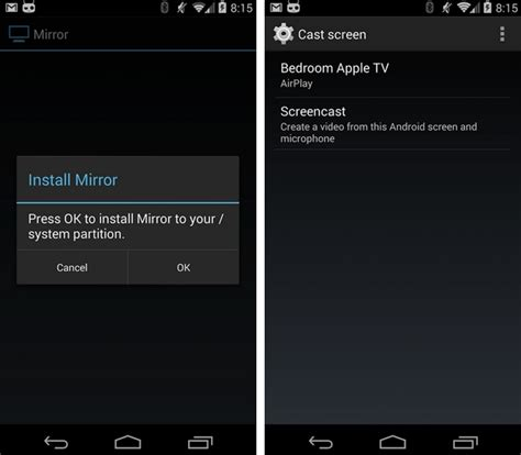 mirror android to apple tv mirror for android allows rooted kitkat devices to record and with apple tv talkandroid