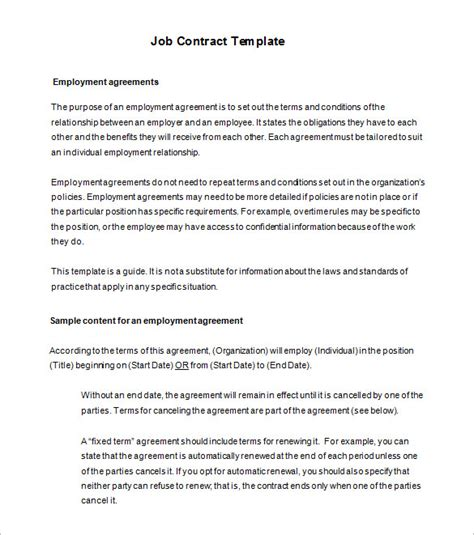 Free Employment Contract Template Word free employment agreement template restaurant employee