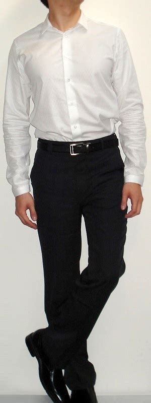 black and white shirt to wear with pants white dress shirt black pants black belt black dress shoes