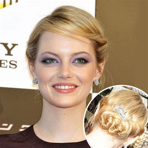 emma stone updo emma stone s vintage updo for the amazing spiderman get