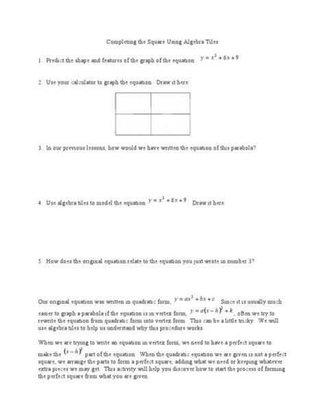 Completing The Square Worksheet by Completing The Square Using Algebra Tiles Worksheet