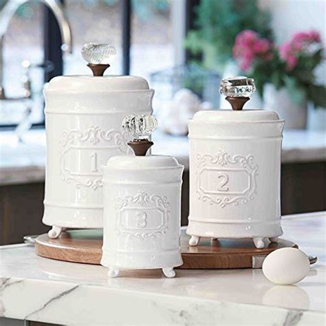 Mud Pie 4931002 Kitchen Canister Set Of 3 White Buy   mud pie 4931002 kitchen canister set of 3 white ebay