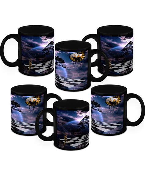 designer mug homesogood black ceramic fine print designer mug 6 mugs