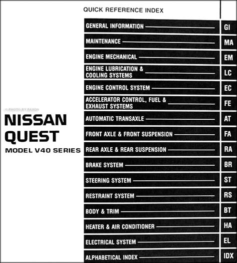 automotive repair manual 1997 nissan quest free book repair manuals 1997 nissan quest van repair shop manual original