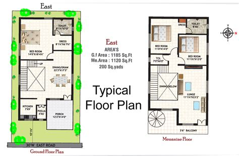 Typical Floor Plan East Facing Duplex House Plans