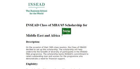 Mba Need Based Financial Aid by Insead Class Of Mba 65 Scholarship For Middle East And