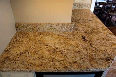 Two Colored Kitchen Cabinets Golden Beach Granite Kitchen Kitchen Dc Metro By